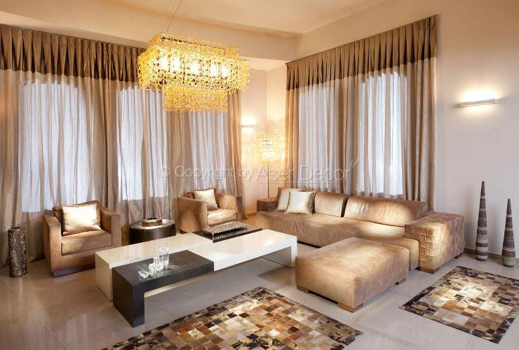 Cortina prega macho bicolor voil sala de estar offink for Cortinas para sala de estar