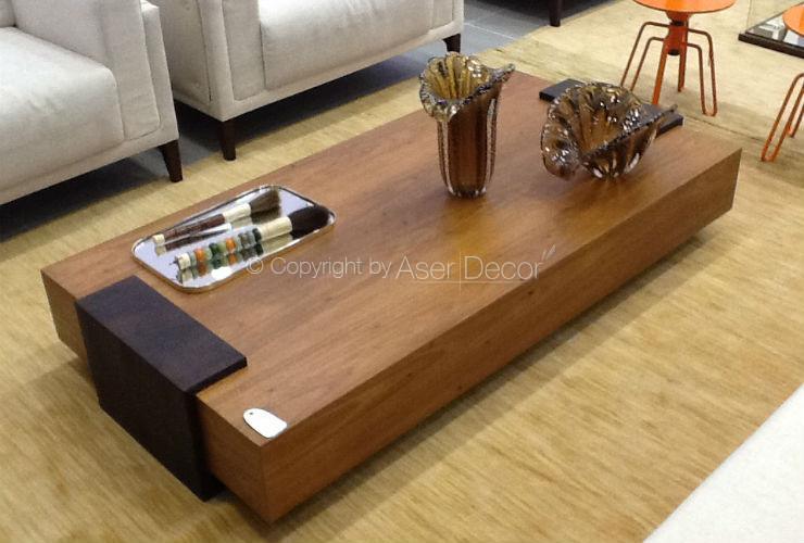 Mesa de centro liannc madeira laca retangular luxo sala for Mesa de centro de sala