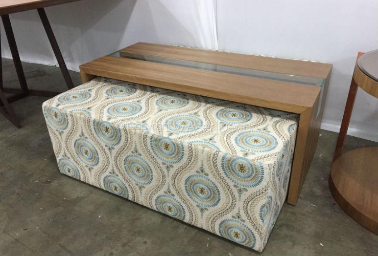 Mesa de centro ronaju madeira retangular puff azul sala for Mesa centro puff