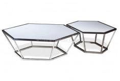 Mesa de Centro Xafhor Hexagonal Vidro Inox Sala Living