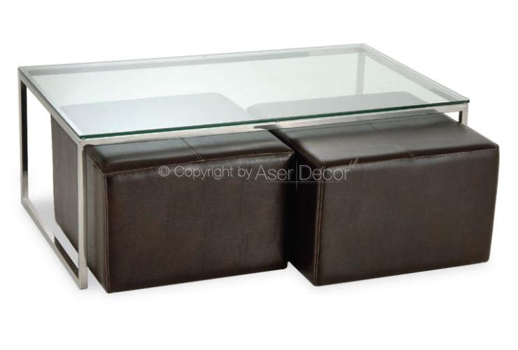 Mesa de centro banwur puffs couro vidro inox sala for Mesa centro puff