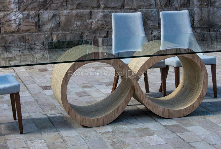 Mesa de Jantar Eterniffto Design Infinito Base Madeira 8 Lugares