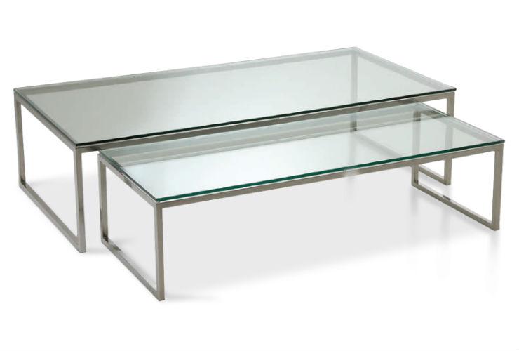 Mesa de centro miwirth dupla vidro inox luxo ret ngular sala - Merkamueble mesas de centro ...
