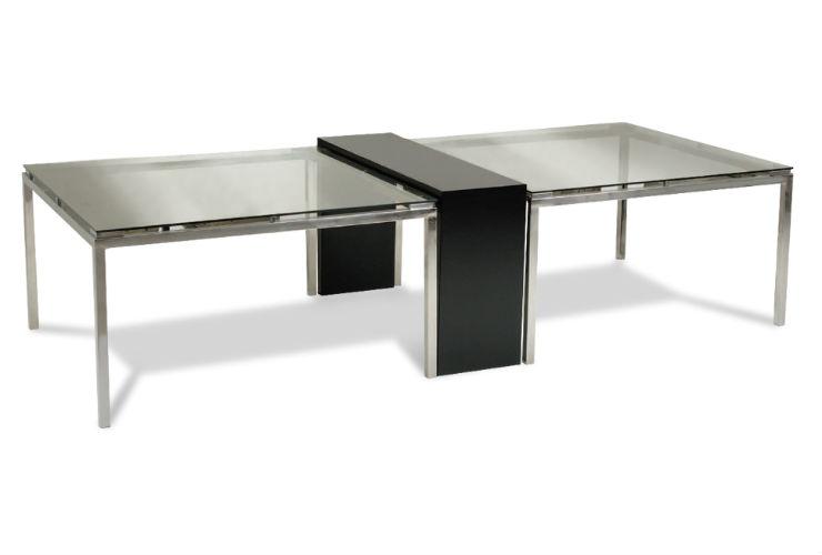 Artesanato Luminaria ~ Mesa de Jantar Tramplist Aparador Central Aço Inox Vidro 10 Lugares
